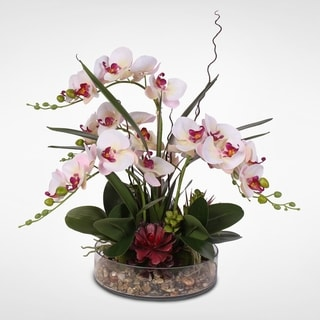 Silk Phalaenopsis Cream Pink Orchids in a Glass Bowl with Pebbles