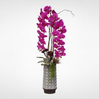 Purple Real Touch Phalaenopsis Orchid & Succulents in a Ceramic Vase