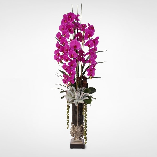 Purple Real Touch Phalaenopsis Orchid & Succulents in a Resin Vase