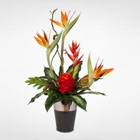 Silk Bird of Paradise with Ginger and Heliconia in a Ceramic Vase
