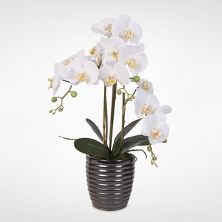 Real Touch White Phalaenopsis  Orchids in a  Gunmetal Vase