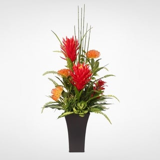 Real Touch Orange Red Tropical Protea with Succulents in a Metal Pot