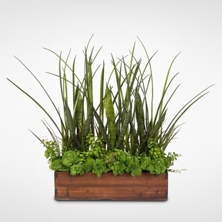Green Real Touch Succulent Plants & Grasses in a Real Wood Planter