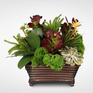 Green & Deep Red Silk Succulent Plant in a Decorative Metal Planter