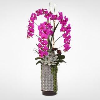 Real Touch Purple Phalaenopsis Orchid & Succulents in a Ceramic Vase