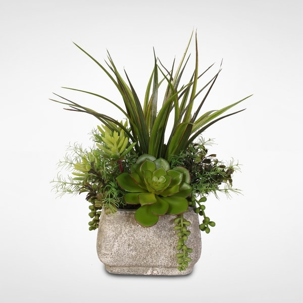 Silk Succulent Arrangement with Grass in a Stone Pot. Opens flyout.