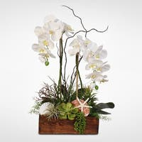 White Real Touch Orchid, Seashells & Succulents in a Wooden Planter