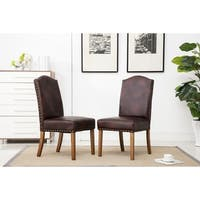 Mod Urban Style Wood Nailhead Faux Leather Padded Parson Chair Set of 2, Brown