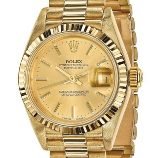 Certified Pre-owned Rolex 18 Karat Yellow Gold Ladies Datejust Presidential Watch