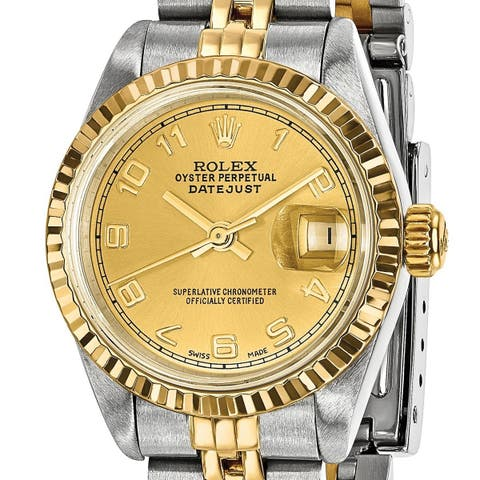 Quality Pre-owned Rolex Steel/18 Karat Yellow Gold Ladies Datejust Watch