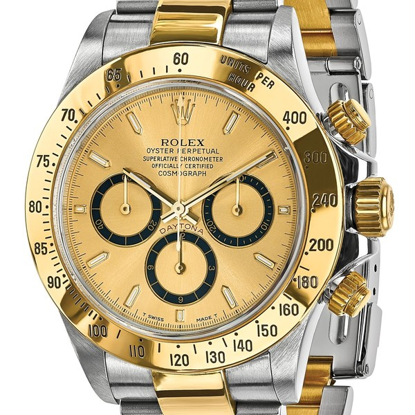 Certified Pre Owned Rolex Steel And 18 Karat Yellow Gold Mens Daytona Champagne Dial Watch