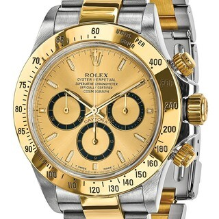 Certified Pre-owned Rolex Steel and 18 Karat Yellow Gold Mens Daytona Champagne Dial Watch