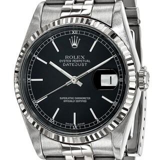 Certified Pre-ownd Rolex Steel and 18 Karat White Gold Mens Black Dial Datejust Watch