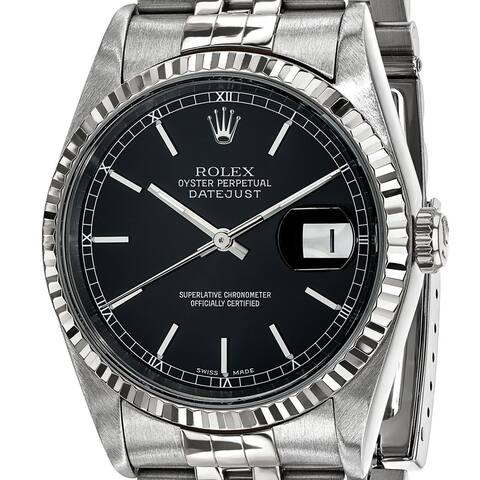 Quality Pre-ownd Rolex Steel and 18 Karat White Gold Mens Black Dial Datejust Watch