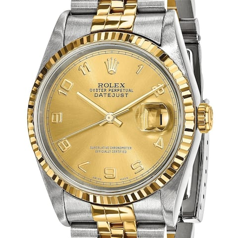 Quality Pre-owned Rolex Steel and 18 Karat Yellow Gold Mens Datejust Watch