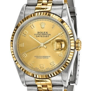 Certified Pre-owned Rolex Steel and 18 Karat Yellow Gold Mens Datejust Watch