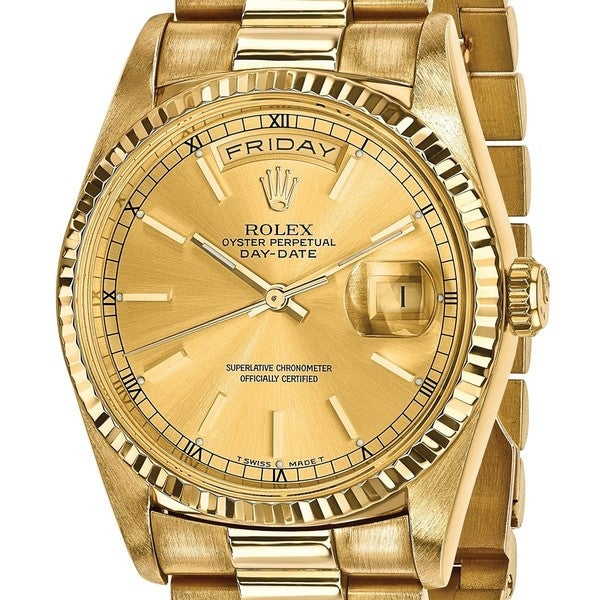 shop quality pre owned rolex 18 karat yellow gold mens day. Black Bedroom Furniture Sets. Home Design Ideas