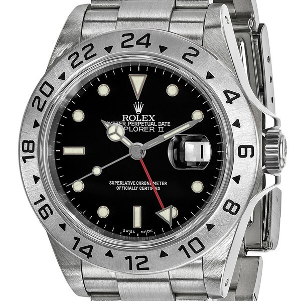 Quality Pre-owned Rolex Steel Mens Explorer II Black Dial Watch