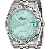 Certified Pre-ownd Rolex Steel and 18 Karat White Gold Mens Datejust Ice Blue Watch
