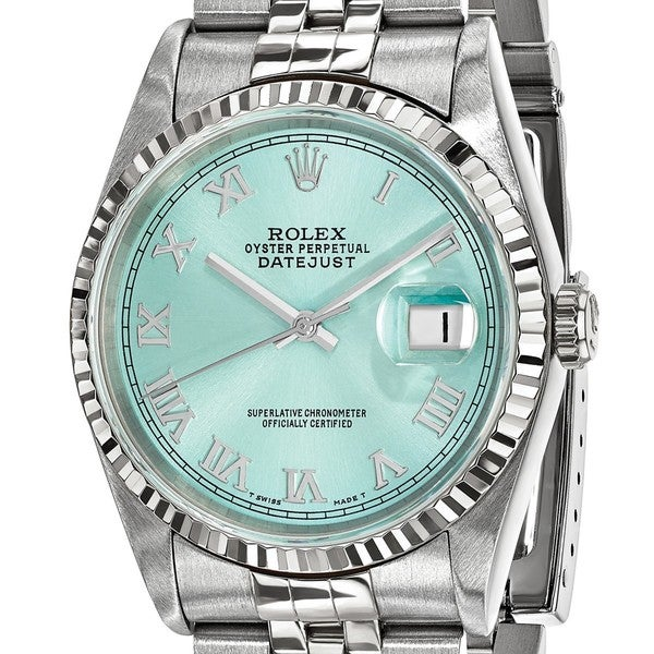 Quality Pre-ownd Rolex Steel and 18 Karat White Gold Mens Datejust Ice Blue Watch