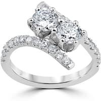 Bliss Diamond 14k White Gold 1 ct TDW Two Stone Diamond Engagement Anniversary Ring