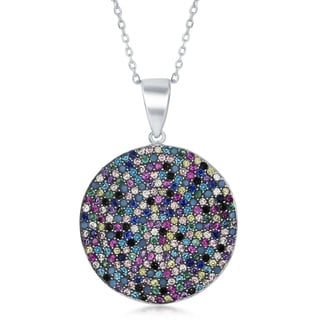 La Preciosa Sterling Silver Multi-Color Cubic Zirconia Disk 16+2'' Necklace - multi