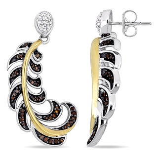 Miadora Sterling Silver with Yellow Rhodium 3/8ct TDW Red and White Diamond Feather Dangle Earrings