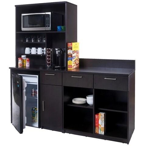 Coffee Break Room Cabinets ASSEMBLED Model O4P0A6L7S 3pc Espresso