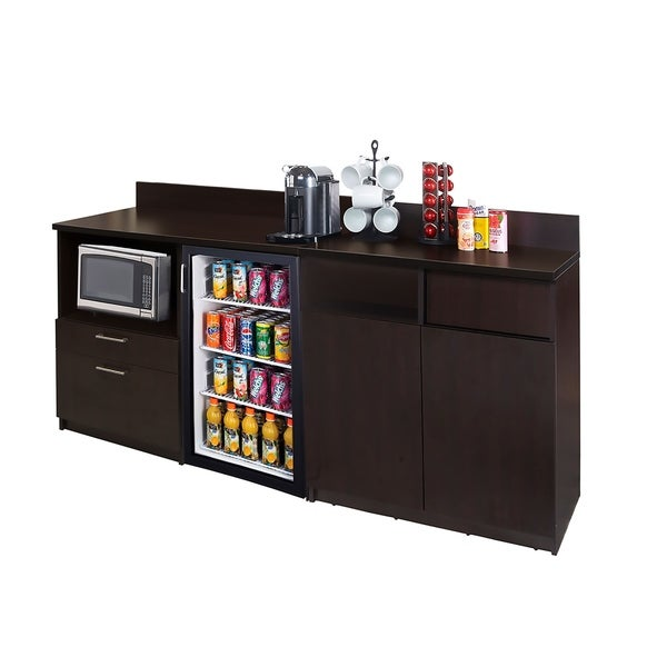 Coffee Break Room Cabinets ASSEMBLED Model O4P0A2L9S 2pc Espresso