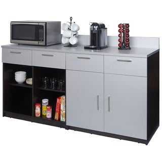 Coffee Break Room Cabinets ASSEMBLED Model O4P0A1L4S 2pc EspressoGray
