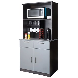 Coffee Break Room Cabinets ASSEMBLED Model O4P0A3L8S 2pc EspressoGray
