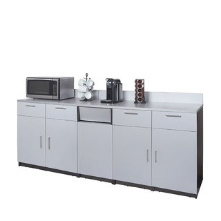 Coffee Break Room Cabinets ASSEMBLED Model O4P0A4L2S 3pc EspressoGray
