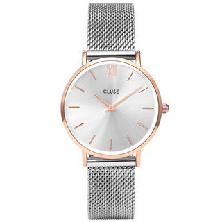 Cluse MINUIT Women's CL30025 Two-Tone Stainless Steel and Rose-Tone Mesh Watch