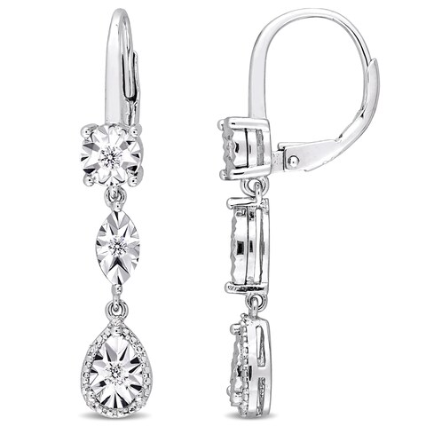 Miadora Sterling Silver 1/4ct TDW Diamond Geometric Dangle Leverback Earrings