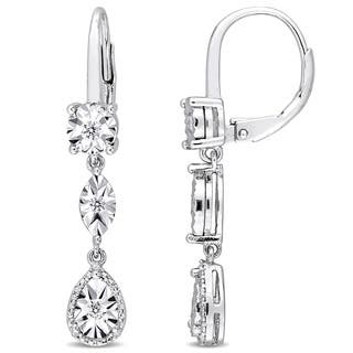 Miadora Sterling Silver 1/4ct TDW Diamond Geometric Dangle Leverback Earrings|https://ak1.ostkcdn.com/images/products/18024672/P24192753.jpg?impolicy=medium