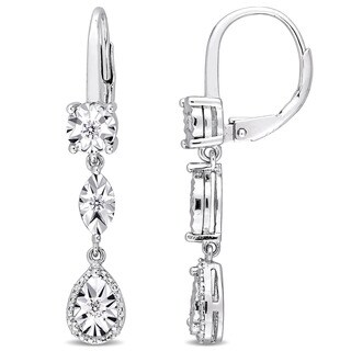 Miadora Sterling Silver 1/4ct TDW Diamond Geometric Dangle Leverback Earrings - White