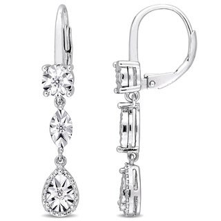 Miadora Sterling Silver 1/4ct TDW Diamond Geometric Dangle Leverback Earrings