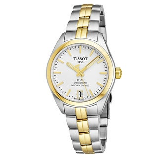Tissot Women's T101.208.22.031.00 'PR100' Silver Dial Two Tone Stainless Steel Swiss Quartz Watch