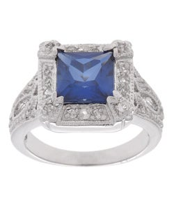 Icz Stonez Sterling Silver and Ceylon and White Created Sapphire Ring