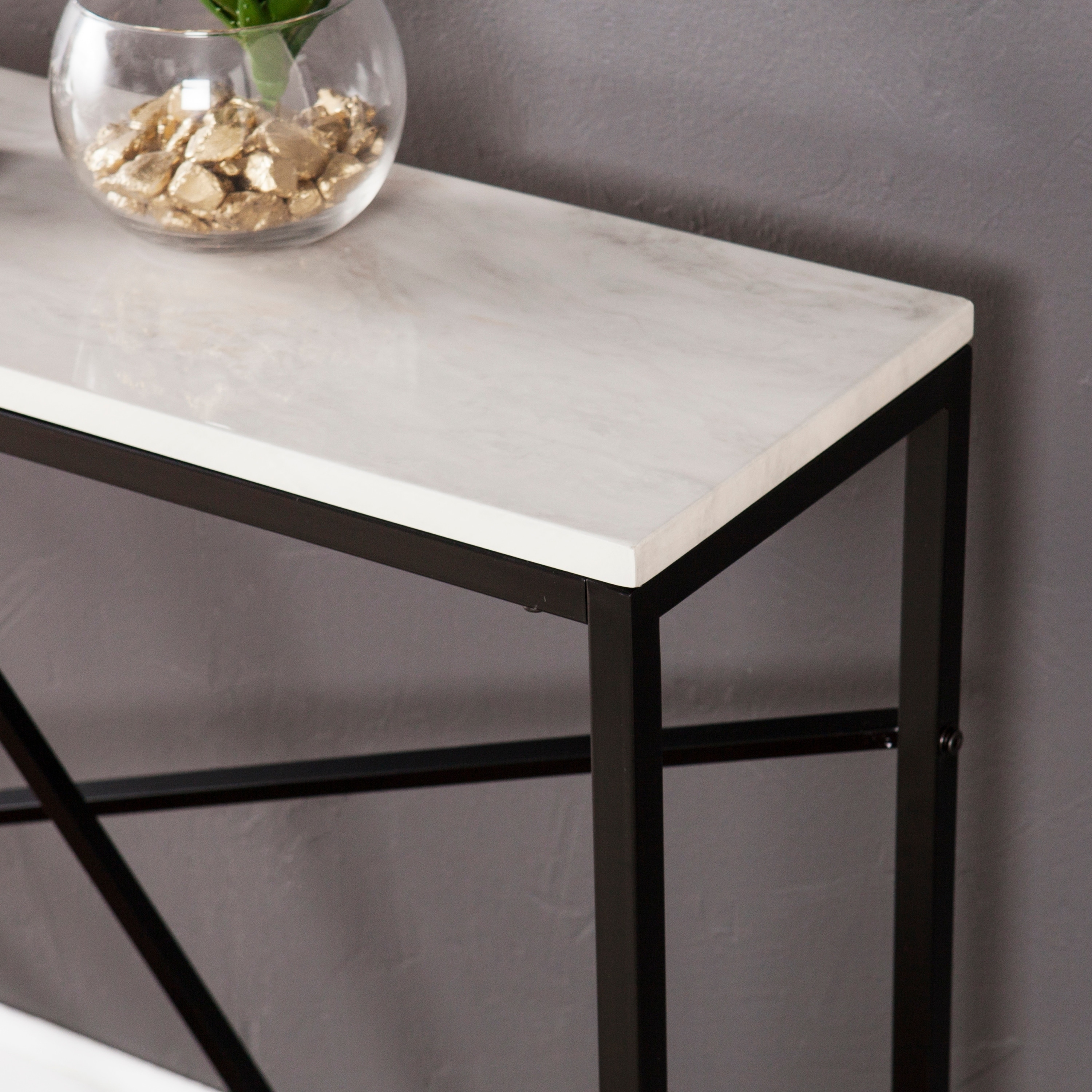 Kerley Faux Marble Skinny Console Table Matte Black