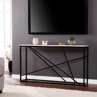 Kerley Faux Marble Skinny Console Table - Matte Black