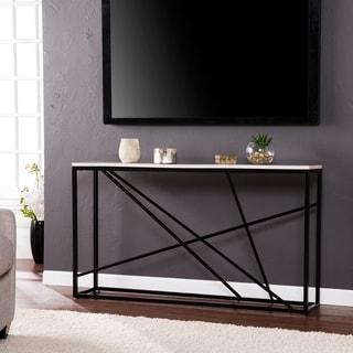 harper blvd kerley matte black faux marble skinny console table