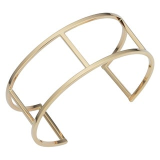 Fremada 14k Yellow Gold Geometric Cuff Bangle Bracelet (7.5 inches)