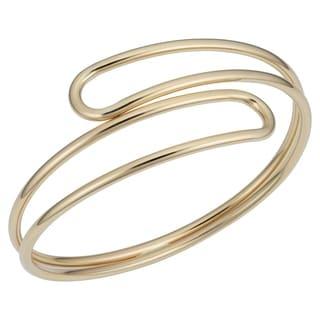 Fremada 14k Yellow Gold Double Bypass Bangle Bracelet (7.5 inches)