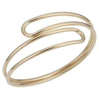 Fremada 14k Yellow Gold Double Bypass Bangle Bracelet (7.5 inches)