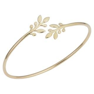 Fremada 14k Yellow Gold Olive Branch Cuff Bangle Bracelet (7.5 inches)