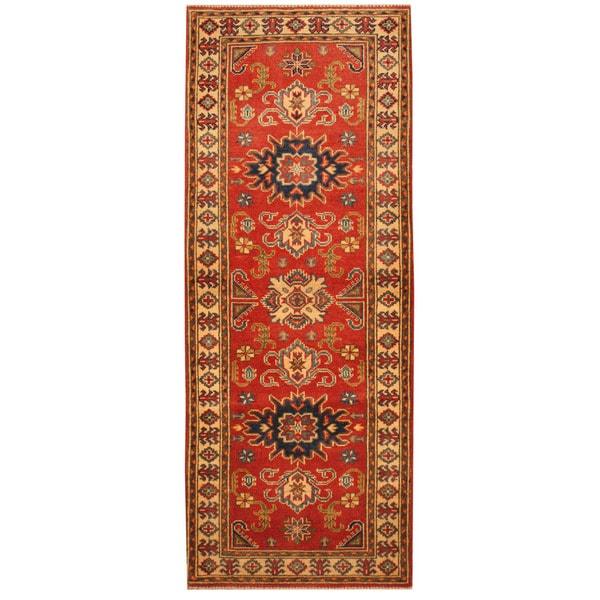 Handmade Herat Oriental Afghan Hand-knotted Tribal Kazak Wool Runner (2'3 x 5'10)