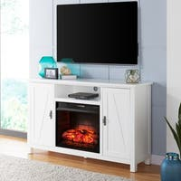 Gracewood Hollow Brito Farmhouse Style Infrared Electric Fireplace TV Stand