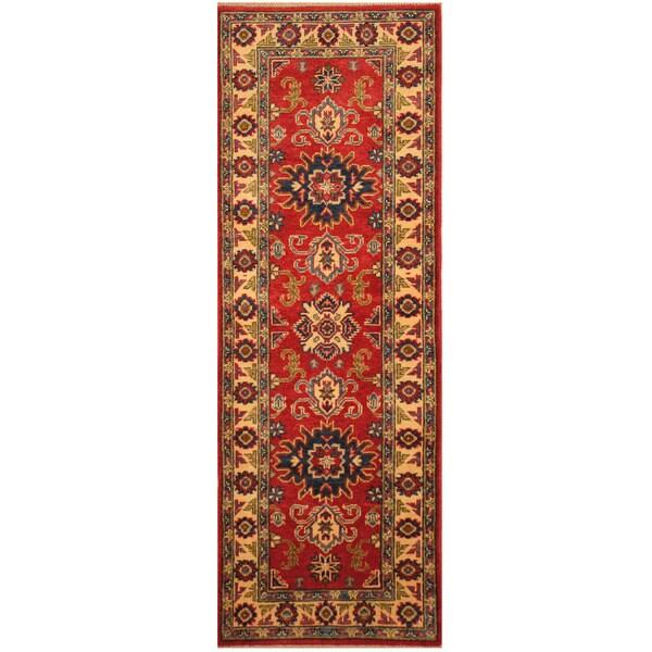 Handmade Herat Oriental Afghan Hand-knotted Tribal Kazak Wool Runner (2'2 x 6'1)