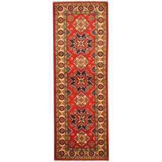 Handmade Herat Oriental Afghan Hand-knotted Tribal Kazak Wool Runner (2'1 x 6'1)